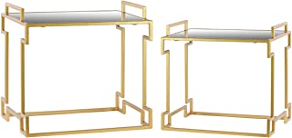 Urban Trends Metal Rectangular Nesting Accent Table with Mirror Top, Side Handles and Round Base in Metallic Finish (Set of 2), Gold