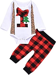 Camidy Baby Toddler Long Sleeve Cotton Bowtie Romper + Plaid Pants Christmas Outfit Set