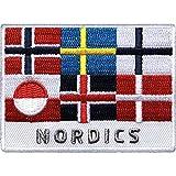 Club of Heroes 2 x Skandinavien Patch gestickt 70 x 52 mm, Nordics Aufnäher Aufbügler Bügelflicken/Dänemark, Finnland Grönland Island Norwegen Schweden/Flagge Hurtigruten Reise Reiseführer