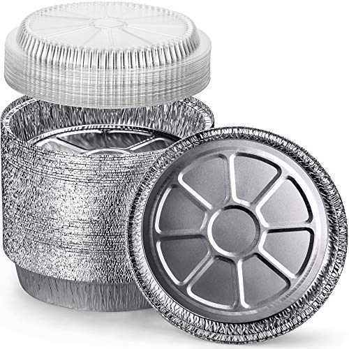 DecorRack 14 Round Aluminum Pans with Dome Lid, 9 Inch Heavy Duty Tin Foil Pans, Perfect for Reheating, Baking, Roasting, Meal Prep, To-Go Containers, Environmentally Friendly (Pack of 14)