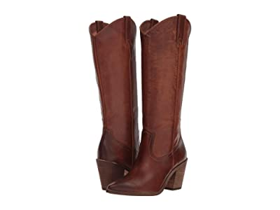 Frye Faye Pull-On (Cognac Washed Antique Pull-Up) Cowboy Boots