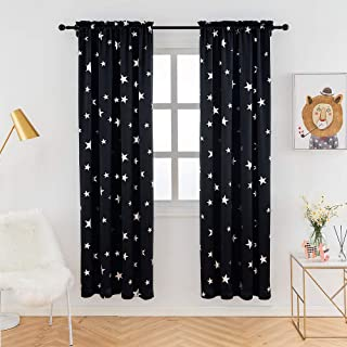 Anjee Blackout Drapes 84 Inches Long for Bedroom Rod Pocket Top, 2 Panels Room Curtains with Foil Printed Star Pattern, 38 x 84 Inches, Black