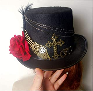 SHENTIANWEI Women Black Steampunk Top Hat with Rose Performance Hat Wedding Hat Size 57CM