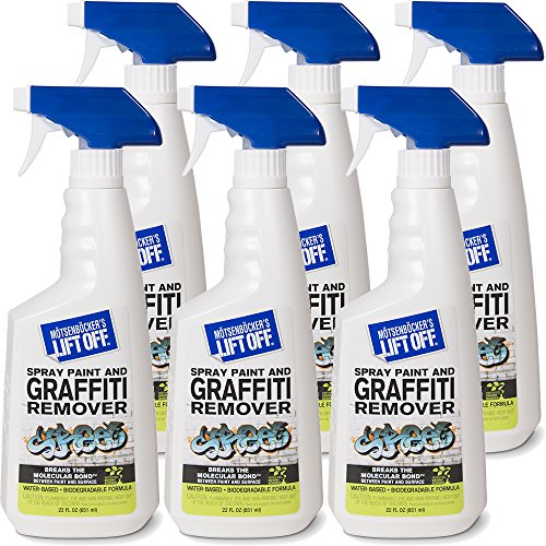 Motsenbocker's Lift Off 41101-6PK 22-Ounce Premium Spray Paint and Graffiti Remover Works on Multiple Surface Types Concrete, Vehicles, Brick, Fiberglass and More Water-Based and Biodegradable