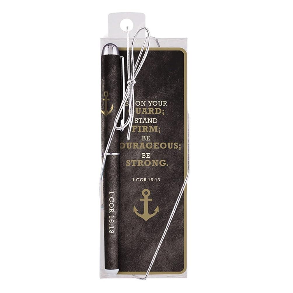 Be Strong 1 Corinthians 16:13 Bible Verse Ballpoint Pen with Bookmark Gift Set
