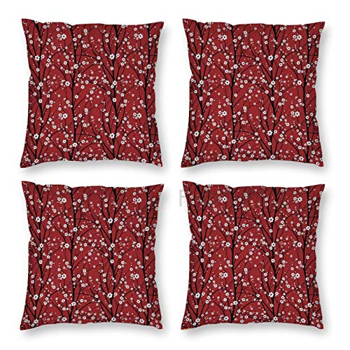 Pillow Covers 18 x 18 Inch Set of 4, Floral Cherry Blossom Tree Branches Beauty Japanese Traditional Folk Eastern Petals Ruby Decorative Throw Pillow Case Cushion Cover for Sofa Couch Sofa Home Decor