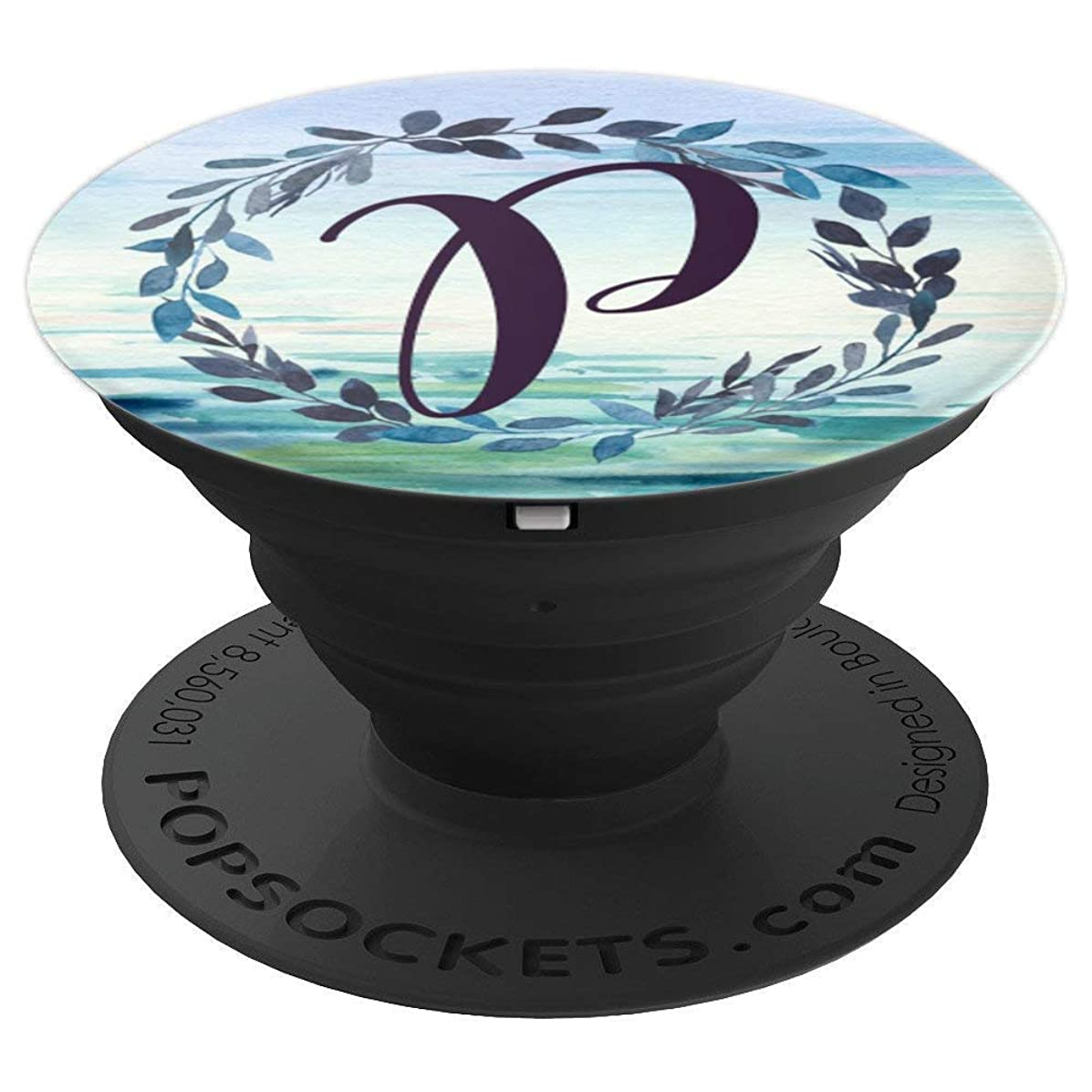 Monogram Letter P Initial Floral Botanical Ocean Pop Socket - PopSockets Grip and Stand for Phones and Tablets