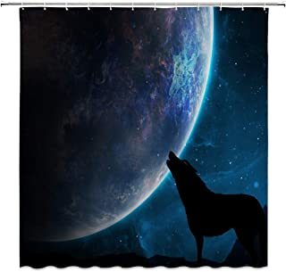 CHENGHUI Wolf Shower Curtain Galaxy Moon Howling Wolf Silhouette Surrealist Bathroom Accessories Polyester with 12 Hooks,71 X 71 Inchs,Black Blue