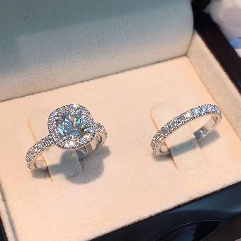 Round Diamond Ring Set Bridal Halo Engagement Wedding Band Ring Set Anniversary Gift (9)