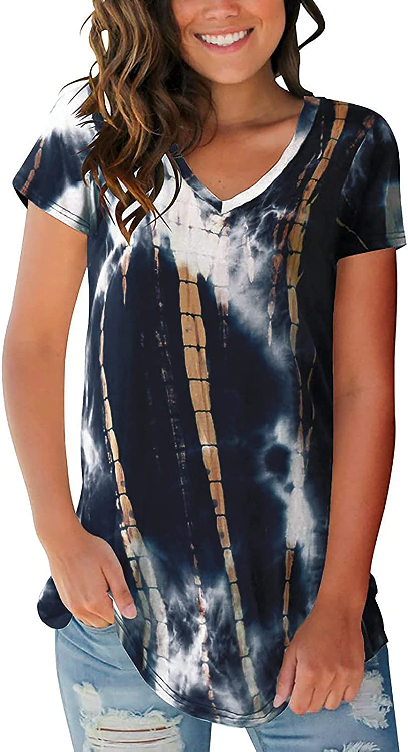 Summer Women Stripe Tshirt Tops Casual V Nippon Indianapolis Mall regular agency Te Fit Loose Neck Tunic