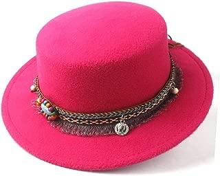 2019 Mens Womens Hats Unisex Men Women Flat Top Pop Church Soft Autumn Winter Fashion Women Flat Top Hat Winter Wide Brim Hat Dance Party Hat Wool Trilby Hat Size 56-58CM