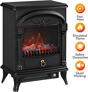 TONGLUBAO Electric Fireplace Stove Freestanding Fireplace Heater Indoor Portable Space Heater with 3D Realistic Log Flame Effect Overheating Safety Protection 750/1500w-Black