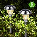 Silver Solar Landscape Pathway Lights Outdoor Charged by Solar Power Lights Outdoor Apply to Path Light, Walkway Light or Driveway Light around the House or Yard, Stainless Steel Waterproof Design (6)