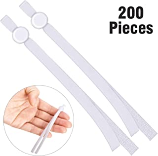 200 Pieces Flat Elastic Cord Bands with Adjustable Buckle Stretchy Sewing Ear Loop Anti-Slip Ear Straps for DIY Face Covers Supplies (White)