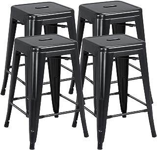 Topeakmart 24inch Metal stools Industrial Vintage Counter Height Kitchen High Backless Barstools Set of 4, Black