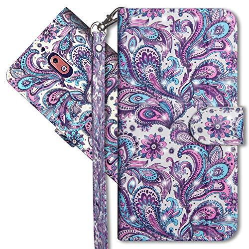 MRSTER Nokia 2.1 Handytasche, Leder Schutzhülle Brieftasche Hülle Flip Hülle 3D Muster Cover mit Kartenfach Magnet Tasche Handyhüllen für Nokia 2.1 2018. YX 3D - Peacock Flower