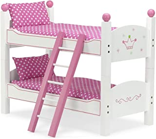 Emily Rose 18 Inch Doll Furniture | 2 Single Beds! - Stackable Doll Bunk Bed - Hand-Painted, Includes 2 Sets of Plush Bedding & Ladder | Fits 18