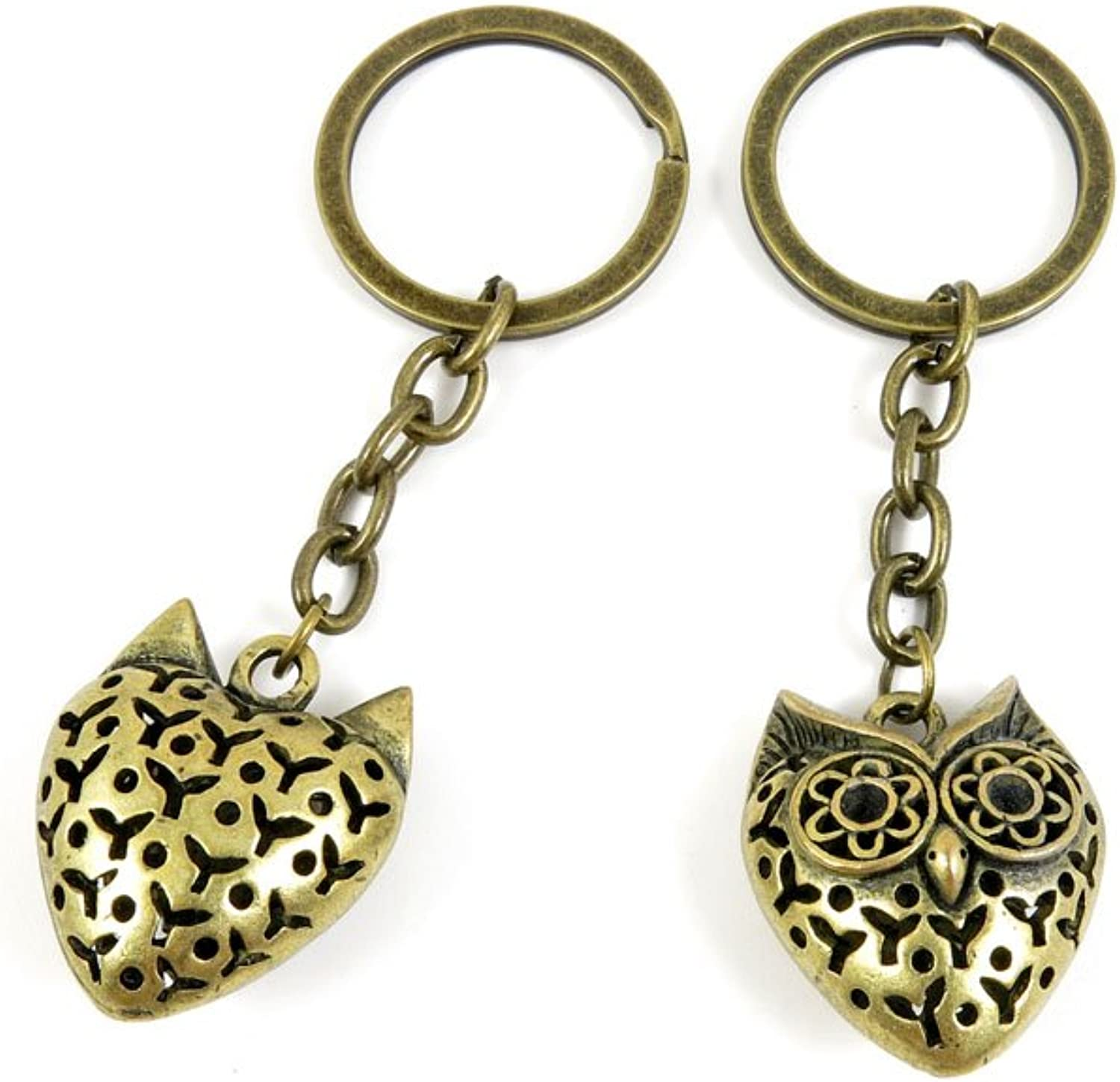 100 PCS Keyrings Keychains Key Ring Chains Tags Jewelry Findings Clasps Buckles Supplies E6LU3 Hollow Owl