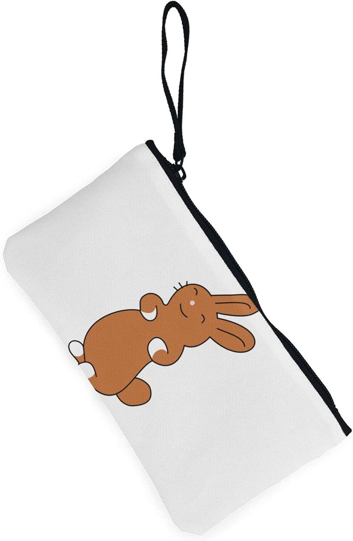 AORRUAM Happy rabbit Canvas Coin Purse,Canvas Zipper Pencil Cases,Canvas Change Purse Pouch Mini Wallet Coin Bag