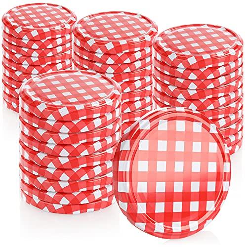 com-four® 40x Couvercles pour les pots en verre - couvercles blanc/rouge quadrillé pour des pots yaourt - couvercle alimentaire - TO 82 mm (0040 pièces - TO 82 mm à carreaux rouge/blanc)