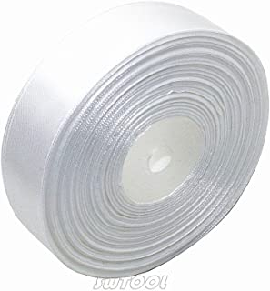 "Selling Wonderful 1"" Solid Satin Ribbon 50 Yards Roll for Wedding Details, Sewing Projects, Gift Wrapping, Invitation Embellishments and Crafting Projects Etc (White)"