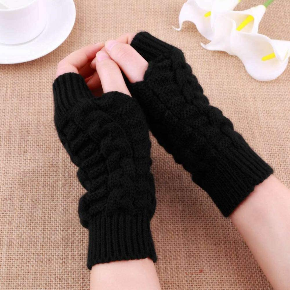 Women Warmth Knitted Fingerless Winter Gloves Soft Knitting Arm Gloves for Women Men Pretty Stylish Mittens Female Gloves - (Color: Coffee)