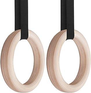 خواتم إكسبلوبور للجمباز، 28 مم / 32 مم خشب حلقات للجمباز الرياضية مع حزام طويل قابل للتعديل بطول 4.5 م للاستخدام في المنزل...