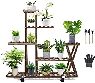 Flower stand Plant display stand Multilayer Simplicity bonsai stand Large-capacity indoor and outdoor flower pot stand Pes...