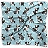 Multi-Colors Design Square Satin Womens Neck Head Bufanda Bufandas Cute Boston Terrier