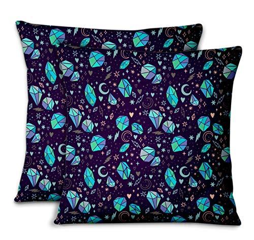 S4Sassy Purpura Terciopelo corazón de Piedra y Cristal Funda de cojín Decorativa para el hogar con Funda de Almohada para sofá 2 piezas-16 x 16 Pulgadas