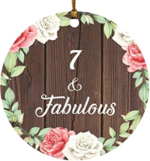 7th Birthday 7 & Fabulous - Circle Wood Ornament A Christmas Tree Hanging Decor - for Friend Kid Daughter Son Grand-Dad Mo...