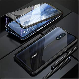 """Case for Oppo Reno 6.4"""" Flip Cover Magnetic Adsorption Technology Metal Bumper Frame with Transparent Tempered Glass Full ..."""