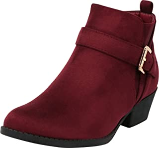 Cambridge Select Women's Closed Round Toe Western Buckle Strap Stretch Stacked Chunky Block Heel Ankle Bootie