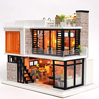 iiE Create Wooden DIY Doll House Miniatures Dollhouse Kit with Furniture and Dust Cover