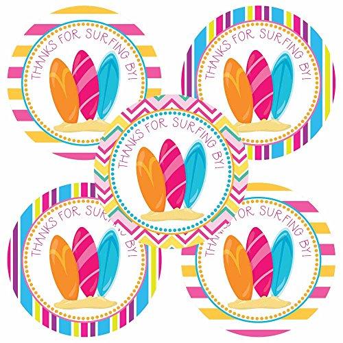 Adorebynat Party Decorations - EU Surfing chica le agradece etiqueta engomada - Surf Party pegatinas para la decoración de cumpleaños de los niños - Set 30
