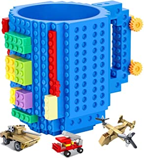 Versatile Build-on Brick Mug,Compatible with LEGO DIY Building Kit,with 3 Pack of Blocks,Novelty Coffee Cup with Bricks Set,Unique Gift Idea for Kids Creative Play (Blue)