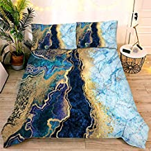 NTBED Marble Comforter Set Queen Blue,3-Pieces Microfiber Bedding Abstract Artwork Watercolor Ultra Soft Gilt Quilt for All Seasons
