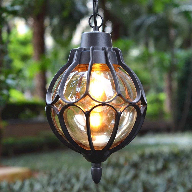 ZHANG NAN ● Candelabros al Aire Libre Luces de jardín Iluminación de Vidrio Transparente Iluminación Exterior E27 Boca de lámpara (Color  Negro) ●
