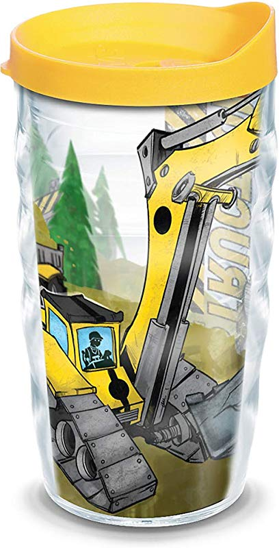 Tervis 1129636 Construction Trucks Insulated Tumbler With Wrap And Yellow Lid 10oz Wavy Clear