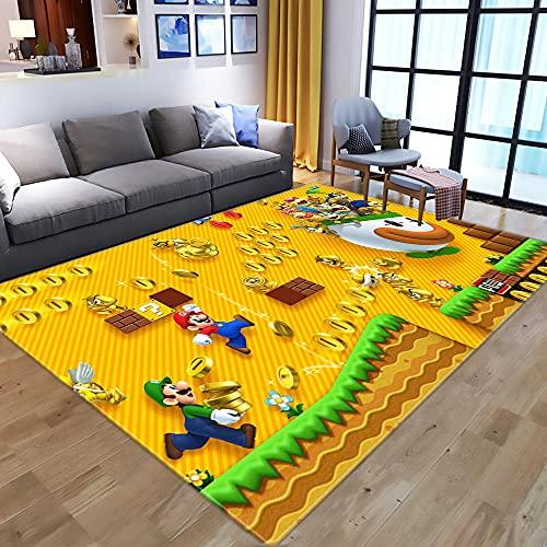 Super Mario Bros Dibujos Animados Dormitorio Creativo Moderno Habitación para niños Alfombrilla Antideslizante Decoración del hogar 60x90cm-A_120X160CM