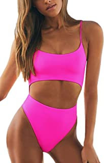 Womens Spaghetti Strap Lace Up Cutout High Waisted Thong One Piece Swimsuit