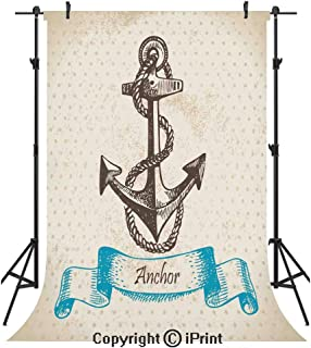 9061923566373 Anchor Photography Backdrops,Vintage Inspired Anchor with Polka Dots on The  Background Ship Safe Artful