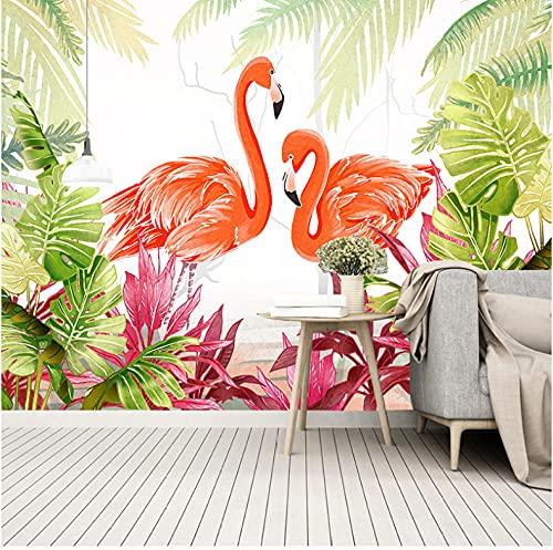 Newberli Papel Pintado 3D Personalizado De Cualquier Tamaño, Nórdico, Hoja Verde Pequeña Y Pájaros, Bosque Tropical Lluvioso Para Sala De Estar, Sofá, Decoración De Fondo