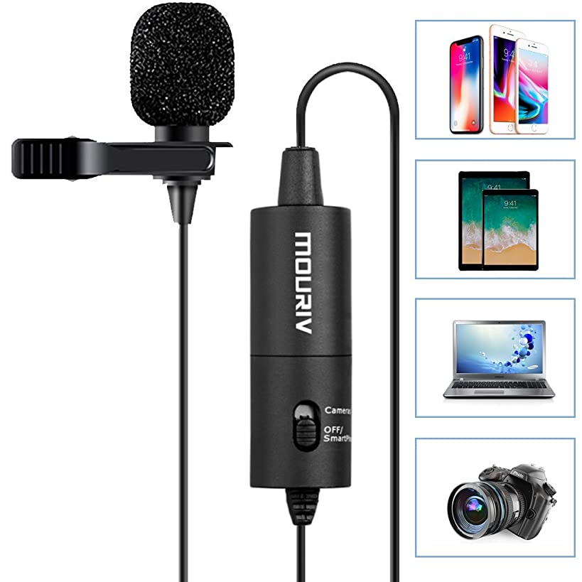 MOURIV Lavalier Microphone, Omnidirectional Condenser Recording Microphones for Canon Nikon Sony iPhoneX 8 8 Plus 7 7 Plus 6 6s Plus DSLR Camcorder Audio Recorder YouTube Podcast Interview Video Vlog