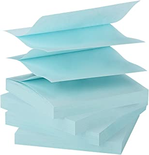 ZCZN Pop-up Sticky Notes 3 x 3 Inches, 4 Pads Bright Color Self-Stick Notes, 100 Sheets/Pad, Light Blue
