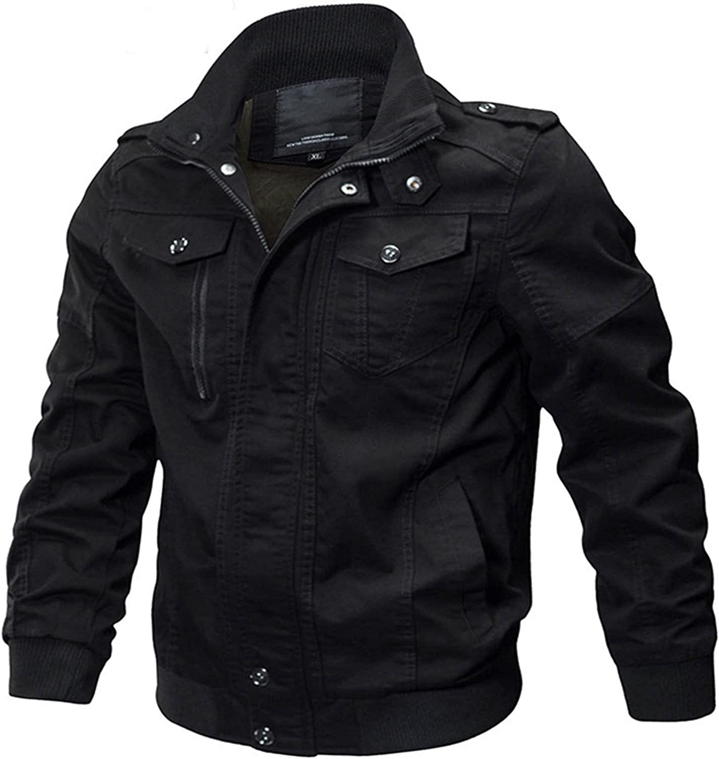 Men's Lightweight Military Jackets with Multi Pockets Zip Front Stand Collar Windbreaker Coat Winter Loose Workwear