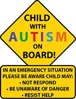 autistic child on board car sign