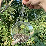 S-Chihir Hanging Wild Bird Feeder Seed Feeder, Acrylic Bird Food Box Outdoor Round Transparent Bird Feeder Anti-Spray Food Box Hanging Bird Feeder (Color : Random Color)