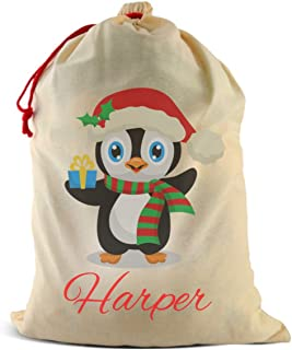 Dinkleboo Santa Sack Personalized Christmas Poly-Cotton Bag w/Drawstring - Big Capacity for Storing Gifts, Toys & Treats - Select from Several Cute Designs (26 3/4