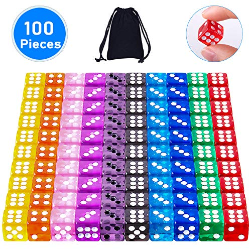 SIQUK 100 Pezzi Dadi da Gioco 12mm Dadi 6 Facce per Tenzi Farkle Casino Giochi da Tavolo, 10 Colori Traslucidi